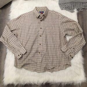Puritan White & Brown Striped Button Down Shirt